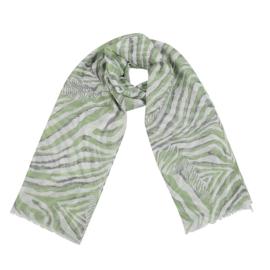 Sjaal met zebraprint in wit/groen/grijs