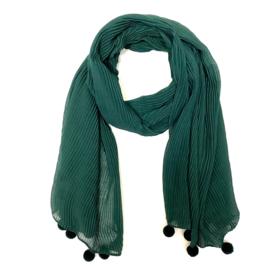 Sjaal plissé in donkergroen met pomponnetjes