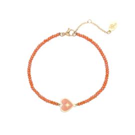 Stainless steel armbandje met kraaltjes in oranje | Heart