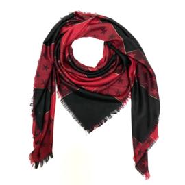 Sjaal met sterprint in rood/zwart
