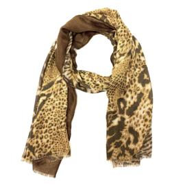 Sjaal met print in bruin/oker/taupe