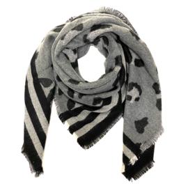 Zachte wintersjaal met streep- en luipaardprint grijs/zwart