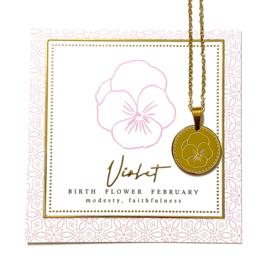 Stainless steel halsketting in goud | Birth Flower | FEBRUARI