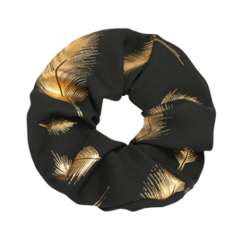 Scrunchie in zwart/goud 'Feathers'
