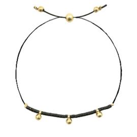 Armbandje met koord en miyukikraaltjes in zwart/goud