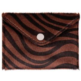 Miniportemonnee met zebraprint in bruin/zwart