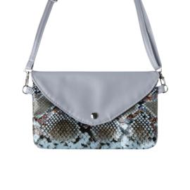 Handtas met slangenprint in grijs