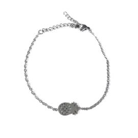 Stainless steel armbandje in zilver | Ananas
