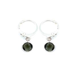 Oorringetjes zilver 'Crystal Glass' in black diamond