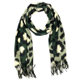 Zachte wintersjaal met luipaardprint  in donkergroen/munt