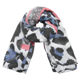Sjaal met luipaardprint in ecru/koraal/jeansblauw