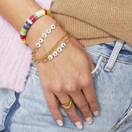 Stainless steel armbandje in goud | HAPPY