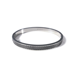 Stainless steel bangle in zilver | Double Chain