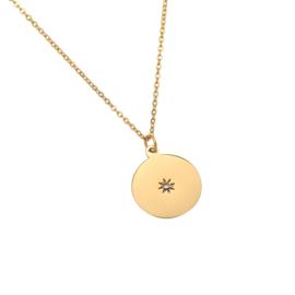 Stainless steel halsketting in goud | Diamond