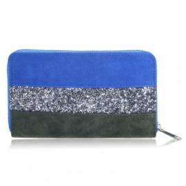 Portemonnee in kobalt/zilver/kaki 'Glitter'