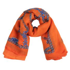 Sjaal met kettingprint in oranje/kobalt
