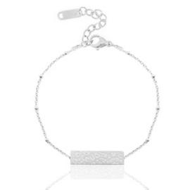 Armband in zilver met luipaardprint-plaatje (RVS)