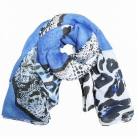 Sjaal met luipaardprint in wit/kobalt