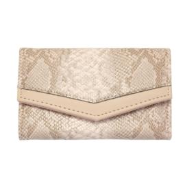 Portemonnee met slangenprint in lichtroos/taupe/beige