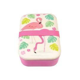Lunchbox in bamboe 'Flamingo Bay'