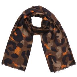 Sjaal met luipaardprint in bruin/donkerbruin/oranje