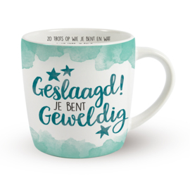 Koffietas 'GESLAAGD! JE BENT GEWELDIG'