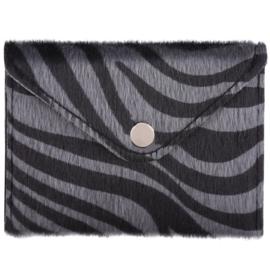 Miniportemonnee met zebraprint in grijs/zwart