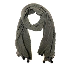 Sjaal plissé in grijs met pomponnetjes