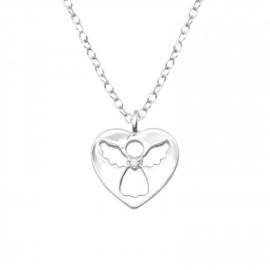 925 zilver halsketting | Engeltje met diamantje
