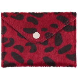 Miniportemonnee met leopardprint in rood/zwart
