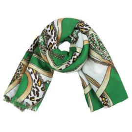 Sjaal met ketting- en riemprint in wit/groen