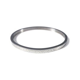 Stainless steel bangle in zilver | Leopard Small