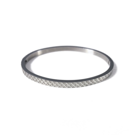 Stainless steel bangle in zilver | Depth