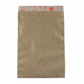 Cadeauzakje met bolletjes in goud/wit | 17x25cm | 3 stuks