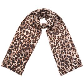 Zachte wintersjaal met luipaardprint in ecru/bruin/zwart