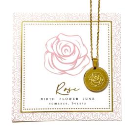Stainless steel halsketting in goud | Birth Flower | JUNI