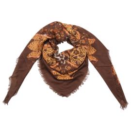 Sjaal met print in bruin/cognac/oker