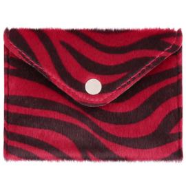 Miniportemonnee met zebraprint in rood/zwart