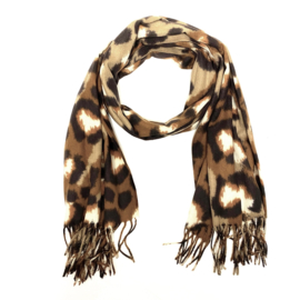 Zachte wintersjaal met luipaardprint  in cognac/bruin