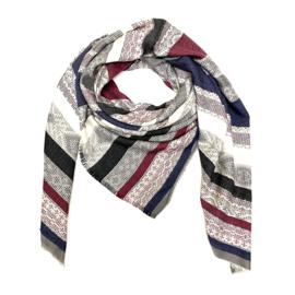 Sjaal met streep in blauw/bordeaux