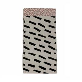 Cadeauzakje met strepen in wit/zwart | 7x13cm | 5 stuks
