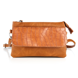 Handtas met crocodesign in cognac
