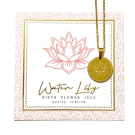 Stainless steel halsketting in goud | Birth Flower | JULI