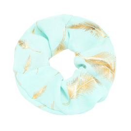 Scrunchie in lichtgroen/goud 'Feathers'