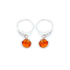 Oorringetjes zilver 'Crystal Glass' in sun orange