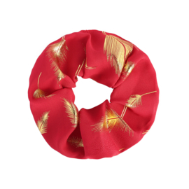 Scrunchie in rood/goud 'Feathers'