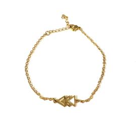 Stainless steel armbandje in goud | Driehoekjes