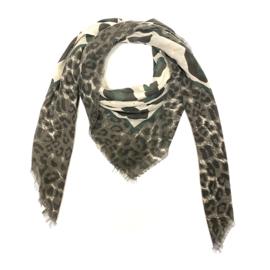 Sjaal met luipaardprint in bruin/ecru/donkergroen
