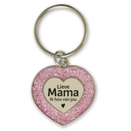 Sleutelhanger hartje 'Lieve mama, ik hou van jou'