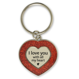 Sleutelhanger hartje 'I love you with all my heart'